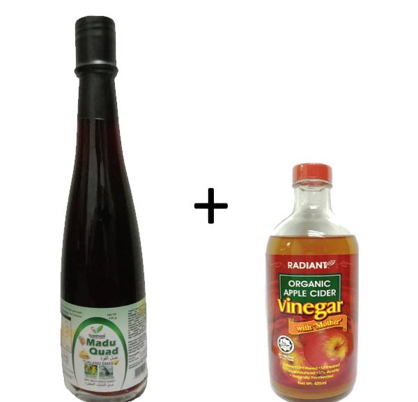Gambar Set Sakanjabin ( Apple Cider Vinegar 425g  + Madu Tualang Quad 430g)
